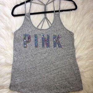Pink Victoria's Secret iridescent sequin tank top